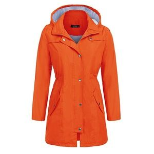 Orange waterproof Windbreaker Coat (12AE)